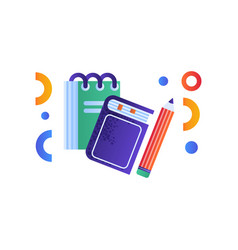 book notebook and pencil education concept vector image