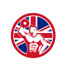British fitness gym union jack flag icon vector