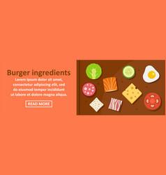 Burger ingredients banner horizontal concept vector