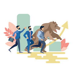 businessmen and bear run competition vector image