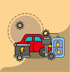 car service maintenance battery remote key system vector image