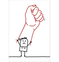 Cartoon angry woman rising up a big fist vector