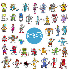 cartoon robot characters big set vector image