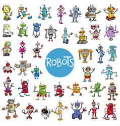 Cartoon robot characters big set vector
