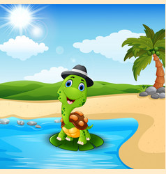 cartoon turtle on the beach vector image