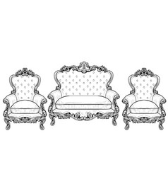 classic imperial baroque armchair set with vector image