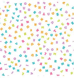 colorful letter seamless pattern on white vector image