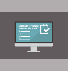 computer monitor with evaluate form on display vector image