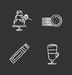 Condectionery chalk icons set vector