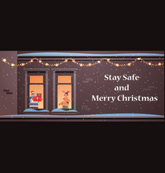 couple holding gifts man woman standing in window vector image