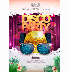 disco background disco ball summer party poster vector image