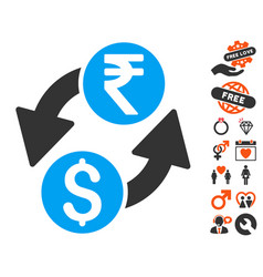 Dollar rupee exchange icon with dating bonus vector