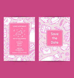 doodle wedding invitation template card vector image