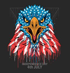 eagle head america usa flag independence day vete vector image