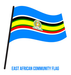 East african community flag waving on white vector
