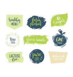 eco templates with hand lettering for logo and vector image