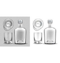 Empty bottle and shot glass side and top view set vector