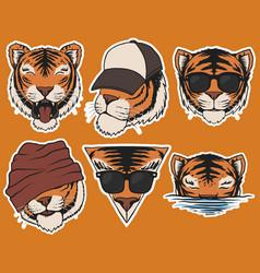 Fashion tiger head stickers vector