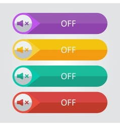 flat buttons sound off vector image