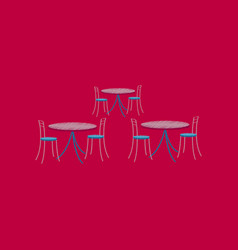 Flat shading style icon tables and chairs vector