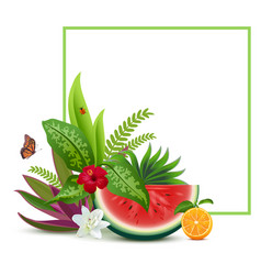 Floral vegetable template greeting card frame vector