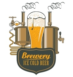 Glass beer and brewing machine vector