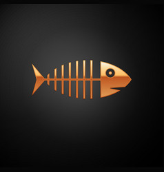 gold fish skeleton icon isolated on black vector image
