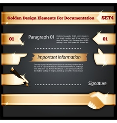 Golden Design Elements For Documentation Set4 vector image
