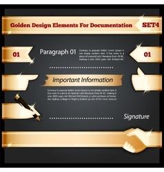 Golden design elements for documentation set4 vector