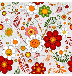 Grey seamless floral pattern vector