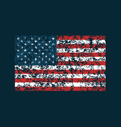 grunge american flag on dark blue background vector image