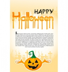 Halloween template with pumpkin vector image