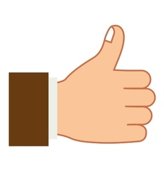 Hand colorful with gesture ok and sleeve brown vector