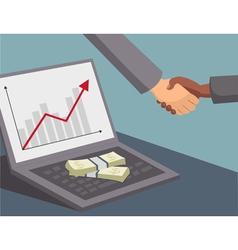 handshake and money on laptop vector image vector image