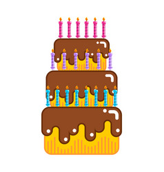 Happy birthday cake dessert with candles sweets vector