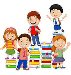 happy schoolkids playing with stack book vector image