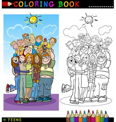Happy Teenagers group for coloring vector