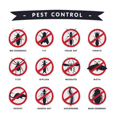 harmful insects prohibition signs moth mosquito vector image