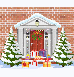 house with christmas decorations vector image