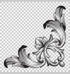 isolate corner ornament in baroque style vector image