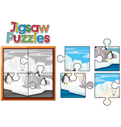 jigsaw puzzle game with animals in north pole vector image
