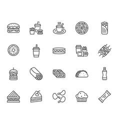 junk food flat line icons set burger fast snacks vector image