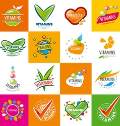 large set of logos vitamins vector image