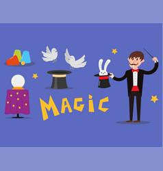 magician prestidigitator character vector image