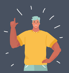man character index finger up vector image