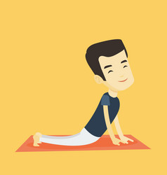 man practicing yoga upward dog pose vector image