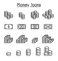 money earning income benefit profit coins icon vector image