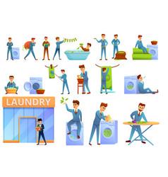 Money laundering icons set cartoon style vector