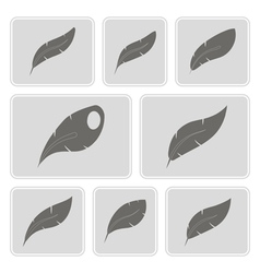 monochrome icons with feathers vector image