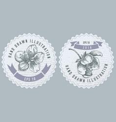 Monochrome labes with sakura vector
